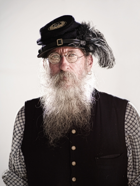 Civil War Reenactors - union man with glasses